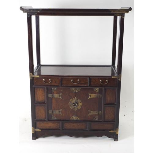 50 - Japanese style 2 tier side unit with 3 drawers and cupboard...