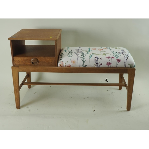 61 - Mid century Gplan style telephone table bench with 1 drawer...