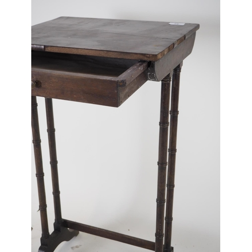 65 - High side table on regency style faux bamboo legs with drawer...