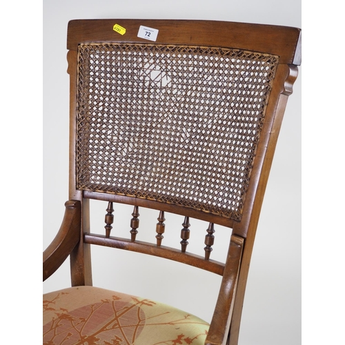 72 - Cane backed nursing chair...