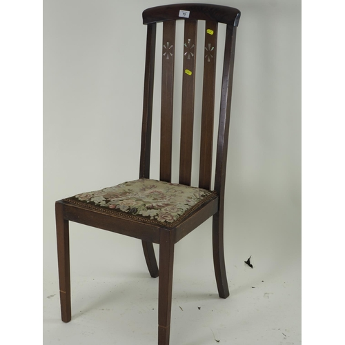 73 - Bedroom/hall chair with MOP inlay to back...