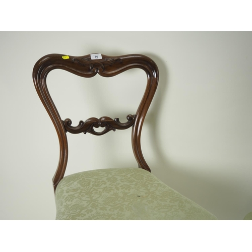 76 - Pair of upholstered balloon back chairs...