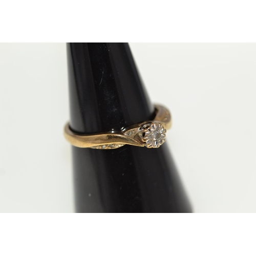 340 - 9ct gold & diamond solitaire ring with diamond set shoulders, 2.78 grams, size P1/2...