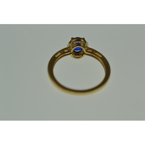 361 - 9ct gold, sapphire & diamond cluster ring, size Q, 2.7 grams...