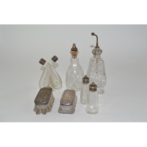 427 - Various silver topped dressing table pots & bottles...