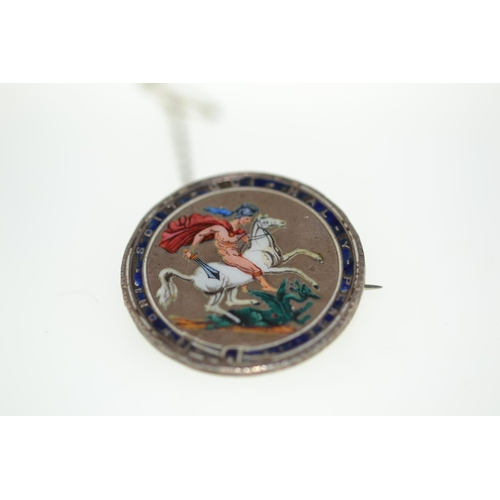 374 - Enamel coin brooch...