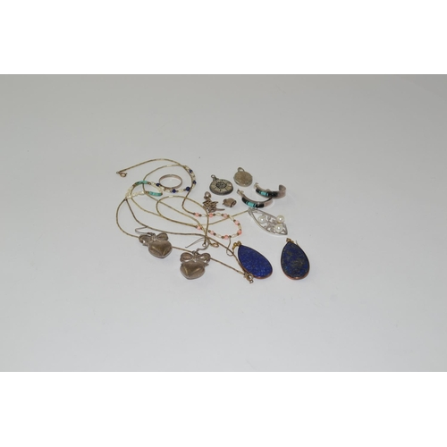 376 - Collection of various silver jewellery, including earrings, pendants, necklaces & a ring...
