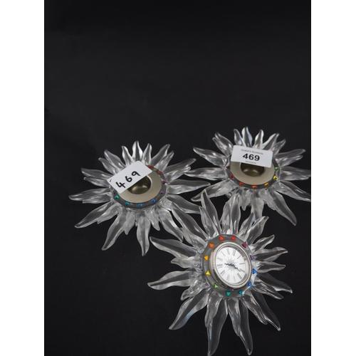 469 - Pair of boxed Swarovski starburst candle sticks with matching starburst clock...