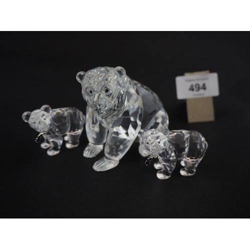 494 - Large Swarovski bear and 2 smaller bears with fish...