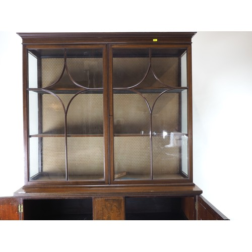 30 - Edwardian inlaid display cabinet by J Hunter and Co...