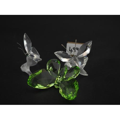 499c - 3 Swarovski butterflies 2 on leaf and Peridot...