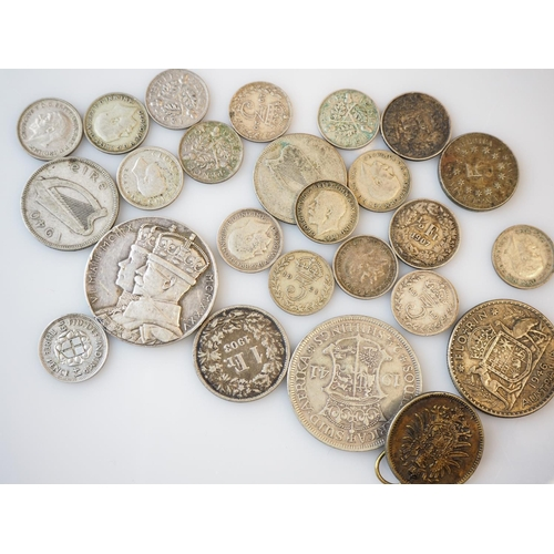 192 - Bag of British and foreign silver coins...