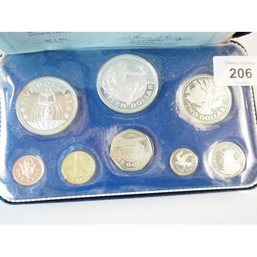 206 - 1973 Barbados cased silver proof set with certificate...