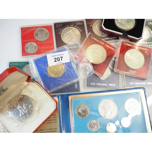 207 - Qty of proof sets including Isle of Man, Irish, Channel Islands, Gibraltar, Singapore & a Post Offic...