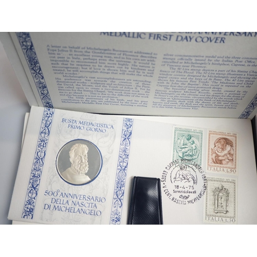211 - Michelangelo 500th anniversary silver medallic first day cover...