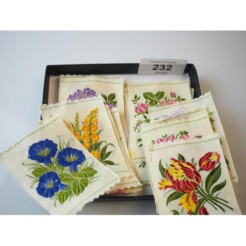 232 - 22 Early 20th century floral silks, each 7x5.2cm...