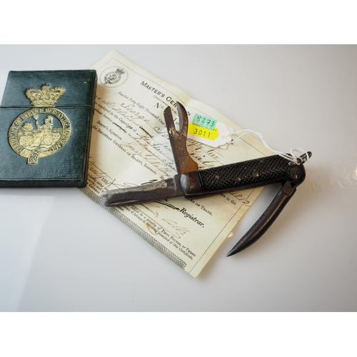 237 - WWII naval pen knife & a Master's Certificate of Service certificate dated 1851 with case...