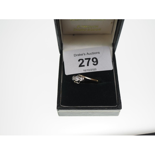 279 - Platinum and 18ct gold 3 stone diamond ring, 2.3 grams, size S...