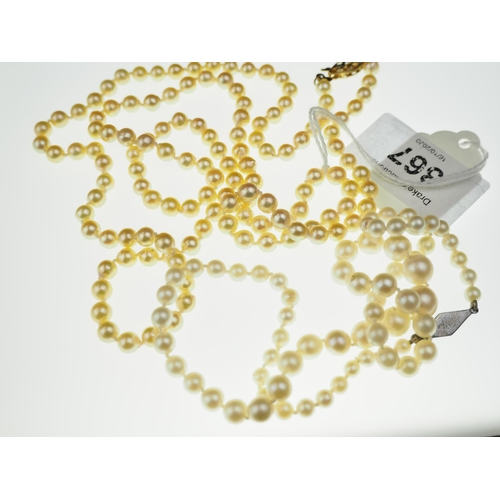 367 - Two cultured pearl necklaces, 440mm & 830mm length respectively...