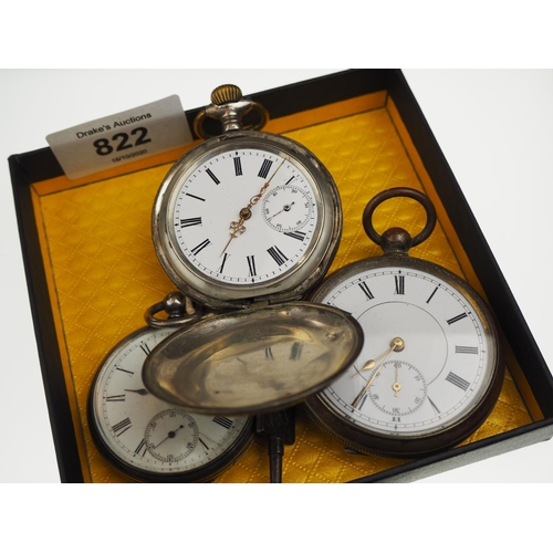 822 - Three pocket watches including two openface & one full hunter, with subsidiary seconds, one with key...