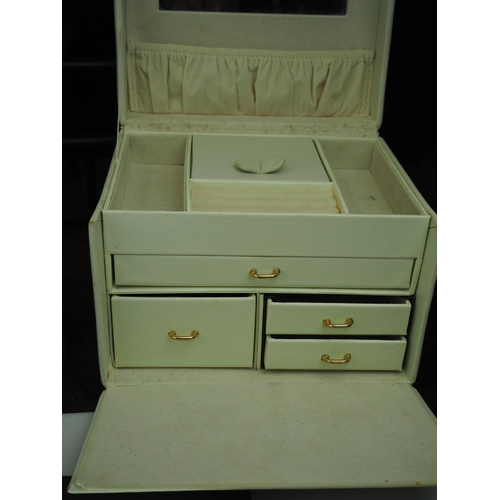 825 - Lift top jewellery case with 4 drawers, key and padlock...