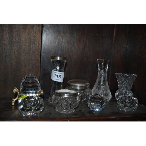 118 - Assorted glass vases etc. inc. silver rimmed and topped...