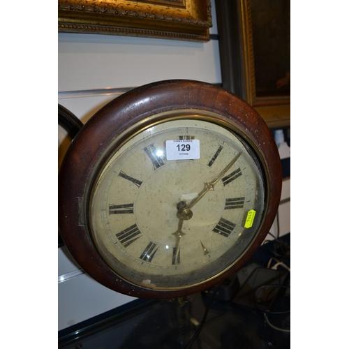 129 - Mahogany & brass framed wall clock (missing weights)...