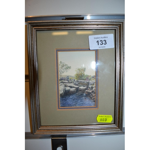 133 - Framed miniature titled 'Bridge', North Teign River by Rosalind Pierson...