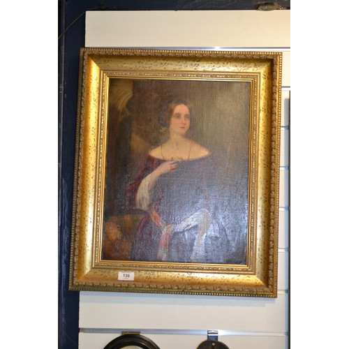 130 - 1824 oil on canvas portrait of Elizabeth Mumby. 57cm x 46cm...