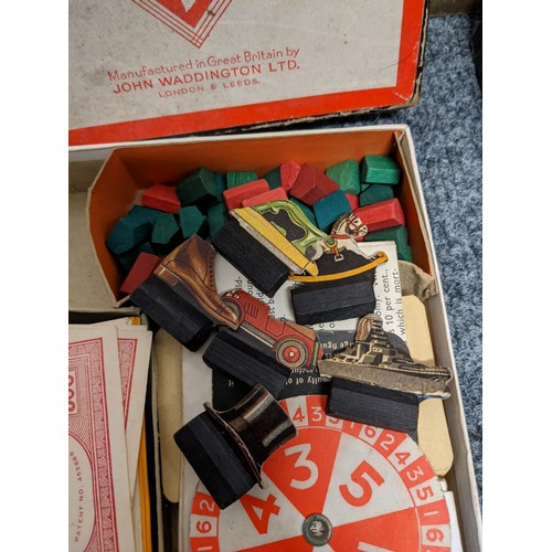 614 - Box of vintage / early games, to include; 1949 First Edition Cluedo? Box & board feature red finger ...