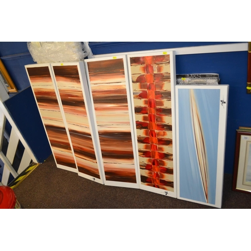39 - Triptych modern art canvas signed by artist & two other signed modern original oils on canvas...