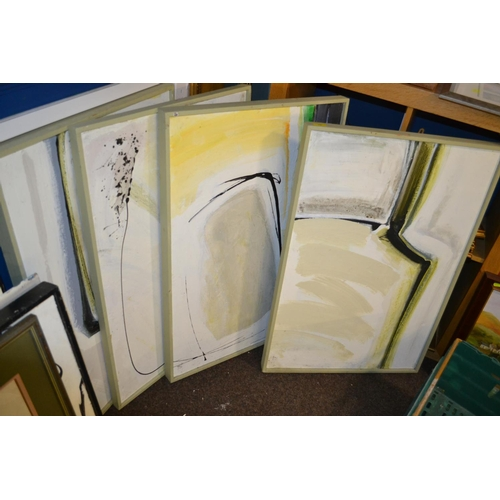 15 - Brian Latham, large original abstract artworks on board x 4...