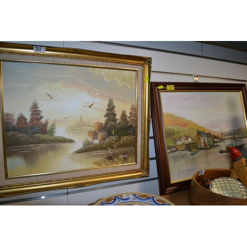 21 - 2 oils on canvas signed D Morgan of birds in flight & H Barden boats...