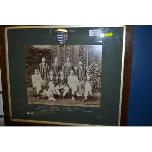 24 - Framed Pembroke 1911 cricket team photograph...