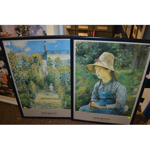 45 - Framed Monet & Pissarro poster prints...