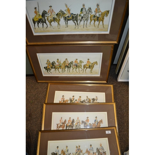 46 - 5 x D H Parry military mounted regiments through the ages. From 1660 to 1813...