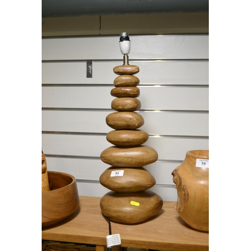 53 - Ceramic pebble style stacked table lamp...