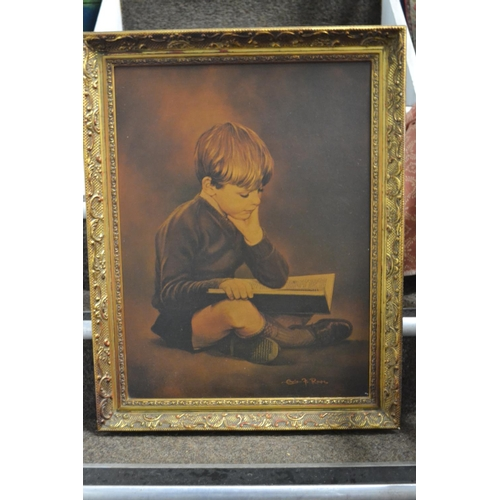 6 - Quiet Moments print in gilt frame, 56x72cm...