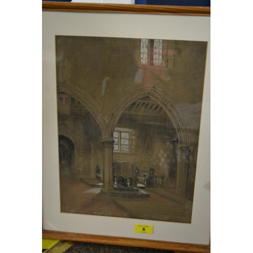 8 - Original artwork of an ecclesiastical interior by L Middleton...