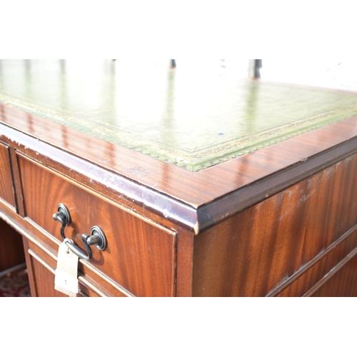 1 - Leather topped pedestal desk W137 D69 H79cms