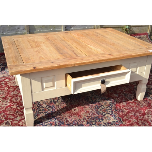 10 - Mexican Pine style 1 drawer coffee table L107cm W76 H45cm