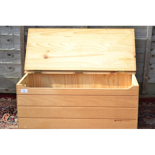 14 - Pine lift top storage box for toys or shoes etc.