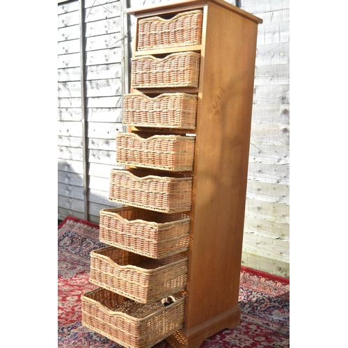 2 - 8 drawer tall boy with wicker drawers W45 D43 H144cm