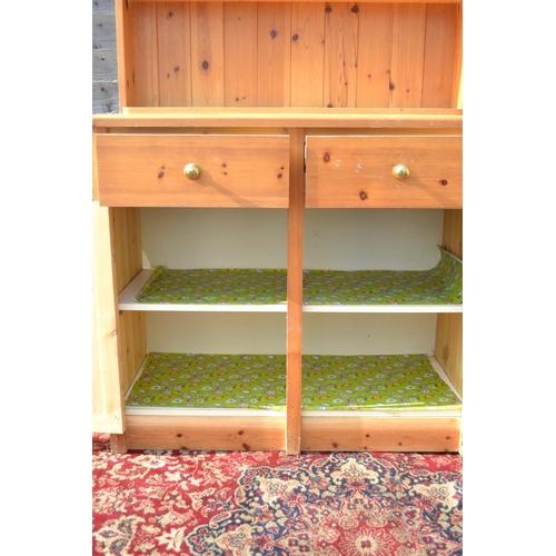 20 - Pine open topped 2 dresser W91 D44 H176cm