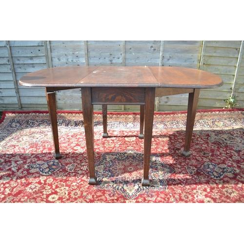 21 - Art Deco Oak gate leg table W102 collapsed L53 full length 147cm
