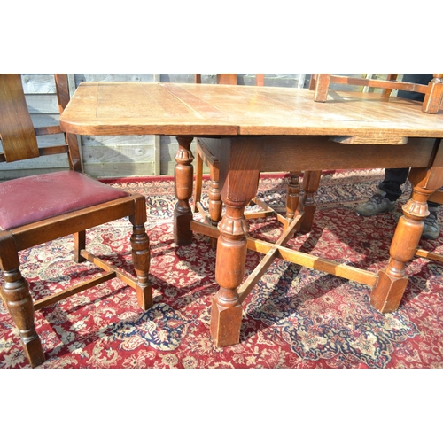 7 - Art Deco Oak extending table and 4 chairs full length152 Width 92 un extended length 90cm H75cm