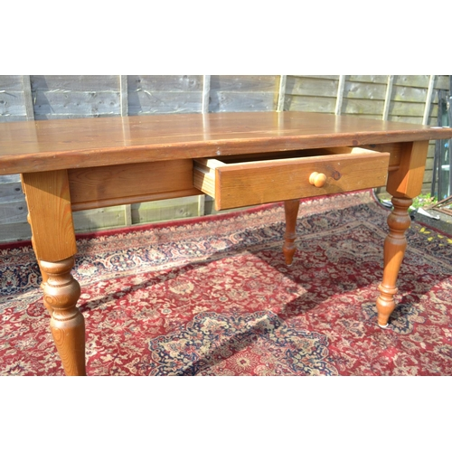 8 - Pine farmhouse kitchen table with drawer L135 W84cm