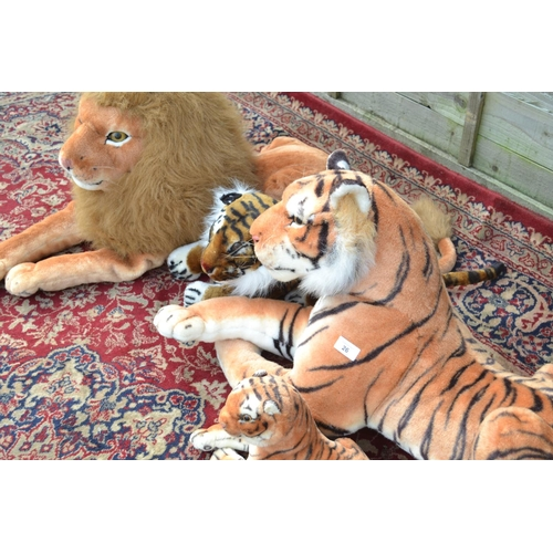 26 - 3 Tigers and a lion largest tiger Length inc tail 134cm
