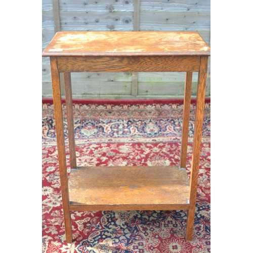 33 - Oak 2 tier hallway table W51 D31 H72cm