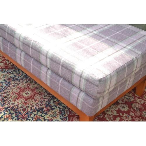 34 - Pinky Purple Tartan foot stool W115 D64 H45cm
